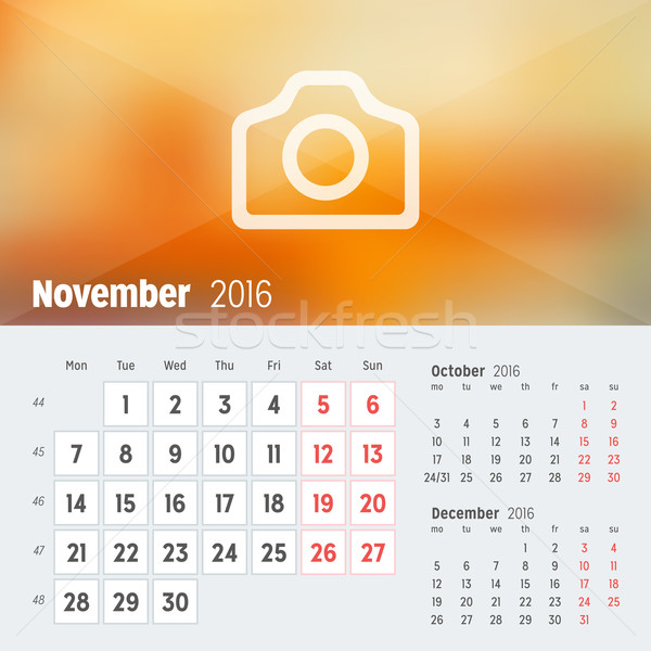 2016 escritorio calendario año vector diseno Foto stock © mikhailmorosin