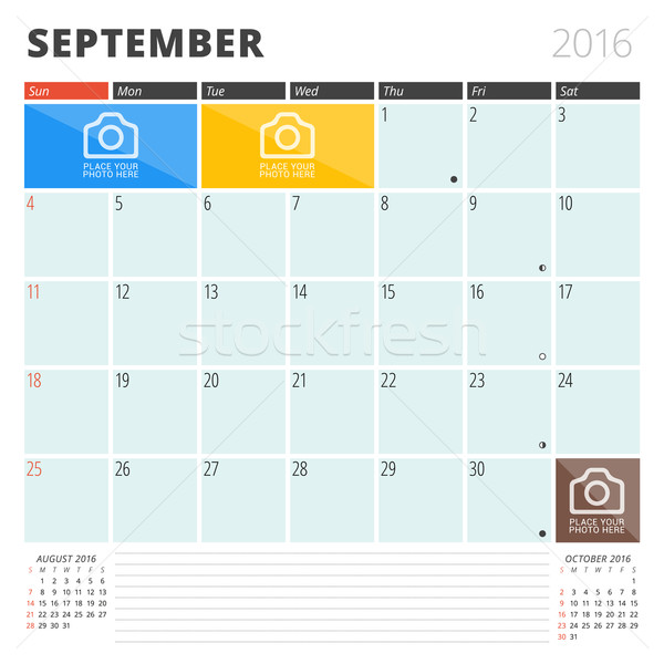 Calendar Planner 2016 Design Template with Place for Photos and Notes. September. Week Starts Sunday Stock photo © mikhailmorosin