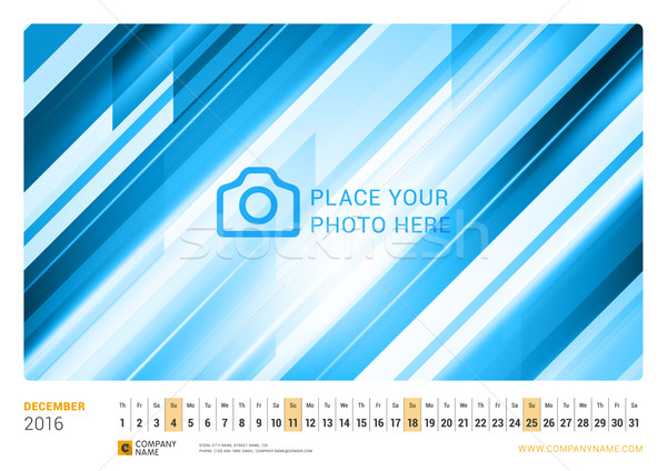 Wall Monthly Line Calendar for 2016 Year. Vector Design Print Template. Landscape Orientation. Decem Stock photo © mikhailmorosin