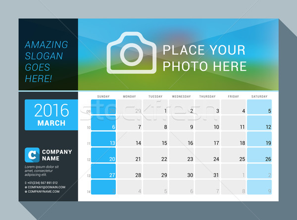 March 2016. Vector Design Print Calendar Template for 2016 Year. Place for Photo, Logo and Contact I Stock photo © mikhailmorosin