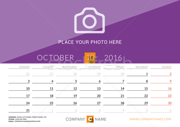 Desk Calendar 2016. Vector Print Template. October. Week Starts Monday Stock photo © mikhailmorosin