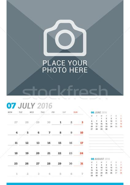 2016 mur mensuellement calendrier année vecteur Photo stock © mikhailmorosin
