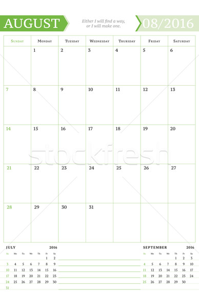 August 2016. Monthly Calendar Planner for 2016 Year. Vector Design Print Template with Place for Not Stock photo © mikhailmorosin