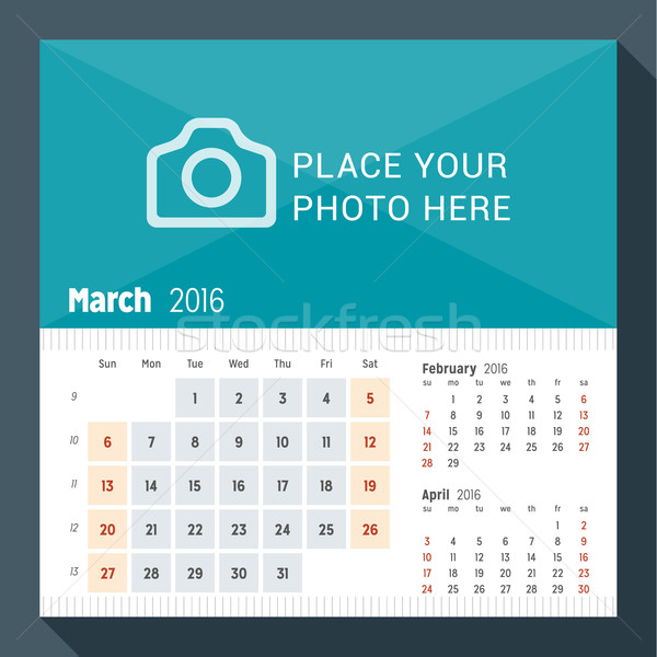 March 2016. Desk Calendar for 2016 Year. Week Starts Sunday. 3 Months on Page. Vector Design Print T Stock photo © mikhailmorosin