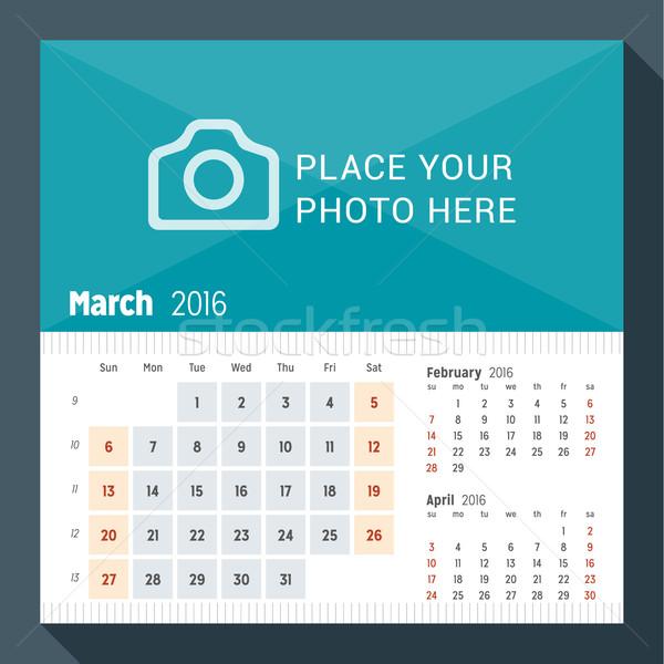 Stock fotó: 2016 · asztal · naptár · év · hét · hónapok