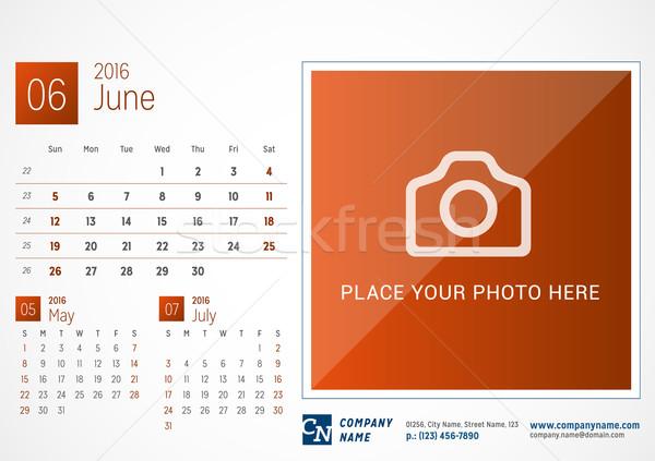 Desk Calendar 2016. Vector Print Template. June. Week Starts Sunday Stock photo © mikhailmorosin
