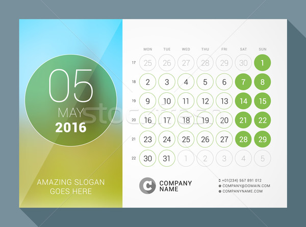 May 2016. Desk Calendar for 2016 Year. Vector Design Print Template with Place for Photo and Circles Stock photo © mikhailmorosin