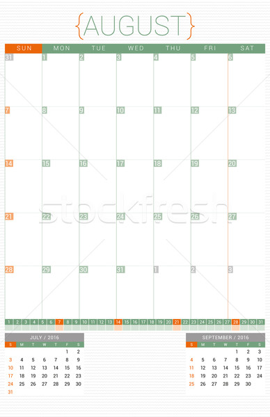 Calendar Planner 2016 Design Template. August. Week Starts Sunday Stock photo © mikhailmorosin