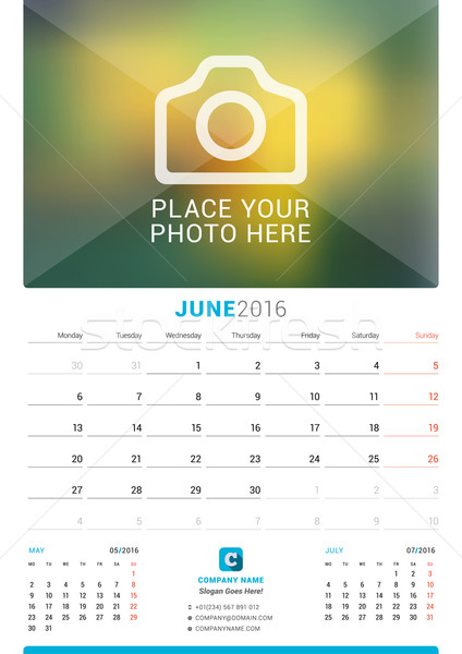 June 2016. Wall Monthly Calendar for 2016 Year. Vector Design Print Template with Place for Photo. W Stock photo © mikhailmorosin