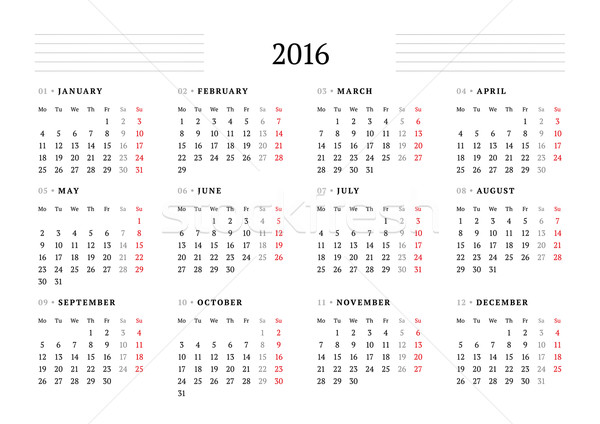 Simple Calendar for 2016. 12 Months. Week Starts Monday Stock photo © mikhailmorosin