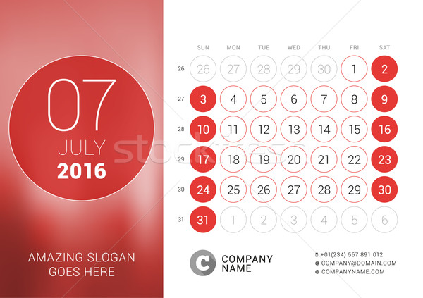 July 2016. Desk Calendar for 2016 Year. Vector Design Print Template with Place for Photo and Circle Stock photo © mikhailmorosin