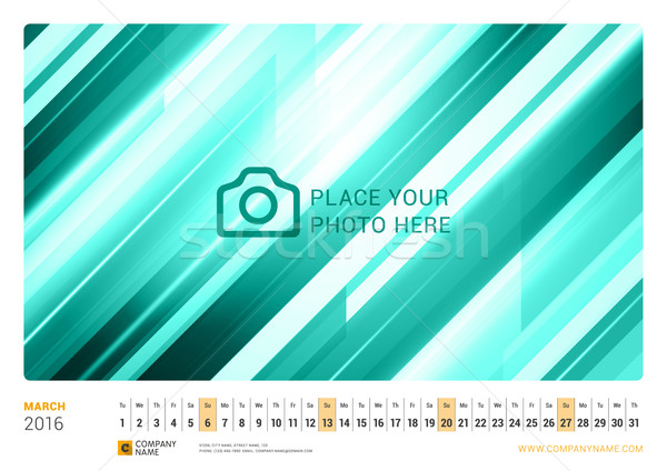 Wall Monthly Line Calendar for 2016 Year. Vector Design Print Template. Landscape Orientation. March Stock photo © mikhailmorosin