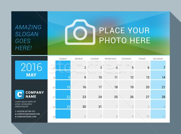 2016 vector ontwerp print kalender sjabloon Stockfoto © mikhailmorosin