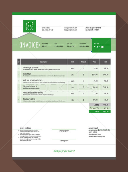 Vector Customizable Invoice Form Template Design. Vector Illustration. Green Color Theme Stock photo © mikhailmorosin
