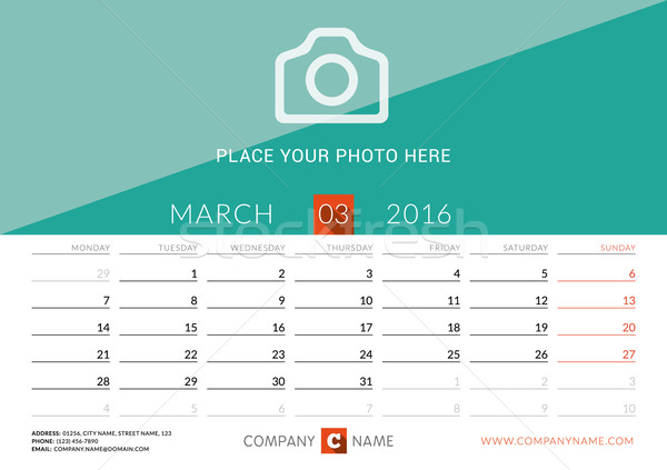 Desk Calendar 2016. Vector Print Template. March. Week Starts Monday Stock photo © mikhailmorosin