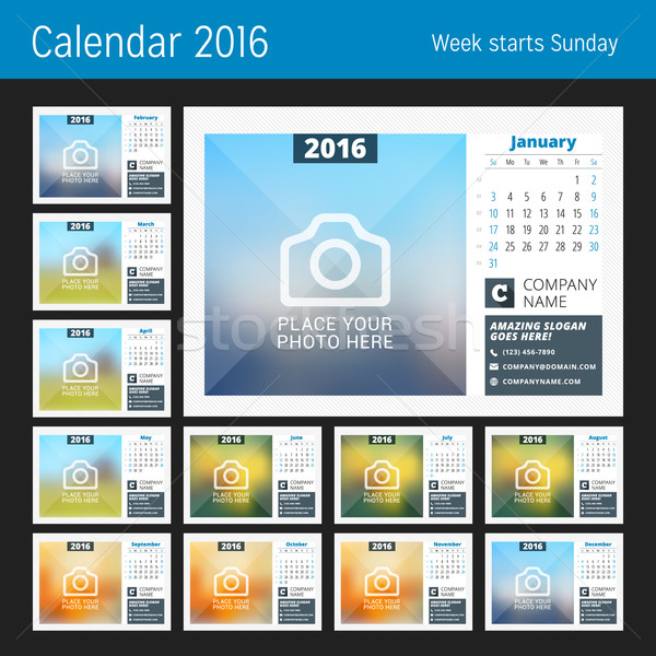 Desk calendario 2016 anno set 12 Foto d'archivio © mikhailmorosin