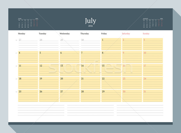 July 2016. Monthly Calendar Planner for 2016 Year. Vector Design Print Template. Week Starts Monday Stock photo © mikhailmorosin