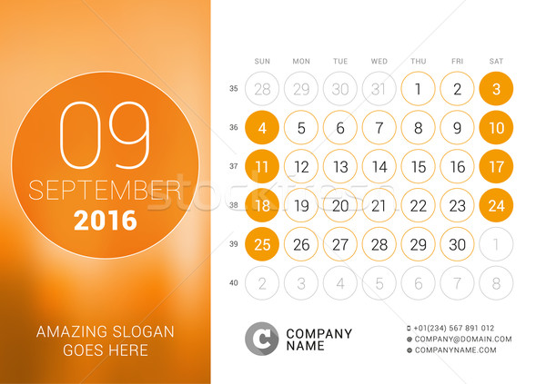 September 2016. Desk Calendar for 2016 Year. Vector Design Print Template with Place for Photo and C Stock photo © mikhailmorosin