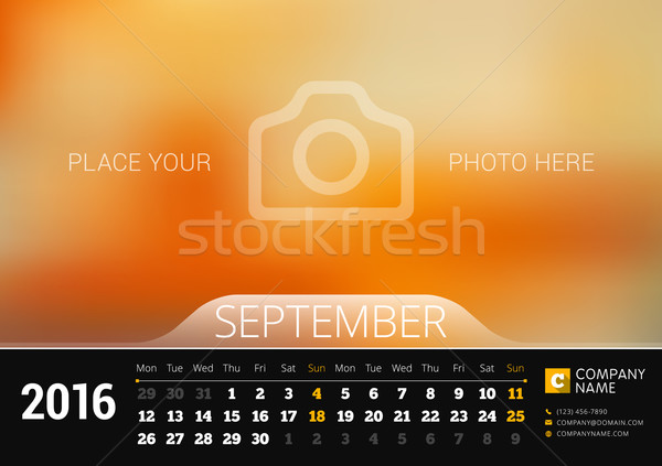 September 2016. Desk Calendar for 2016 Year. Vector Design Print Template with Place for Photo. Week Stock photo © mikhailmorosin