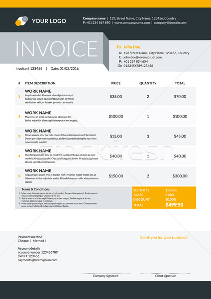 Vector Invoice Form Template Design. Vector Illustration. Black and yellow Color Theme Stock photo © mikhailmorosin
