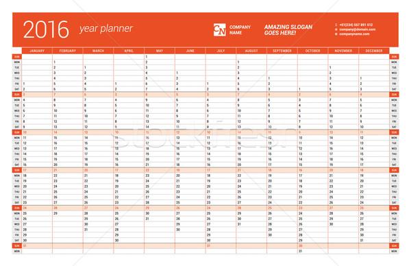 Red Calendar Planner 2016 Year. Vector Design Print Template. Week Starts Sunday Stock photo © mikhailmorosin