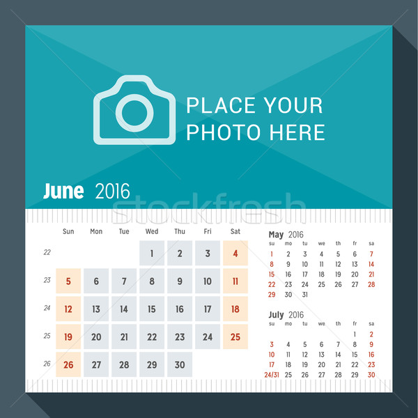 June 2016. Desk Calendar for 2016 Year. Week Starts Sunday. 3 Months on Page. Vector Design Print Te Stock photo © mikhailmorosin
