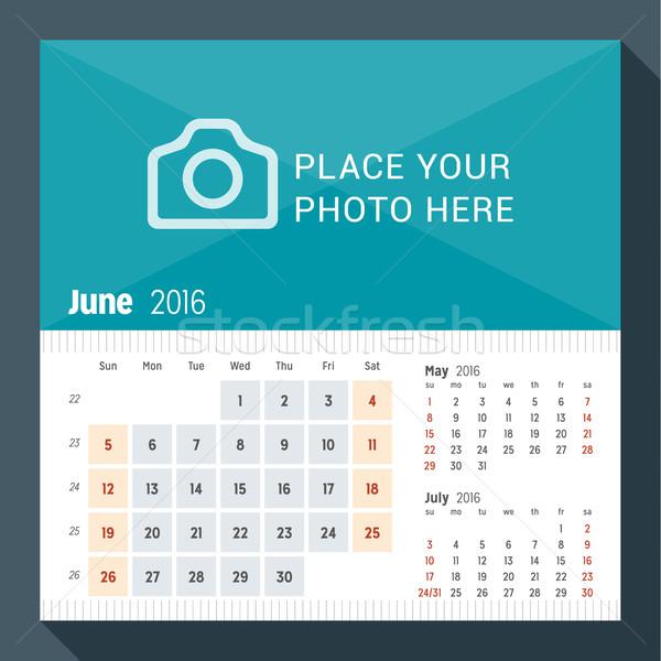 2016 desk calendario anno settimana mesi Foto d'archivio © mikhailmorosin