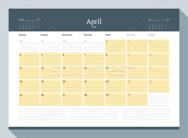 2016 mensal calendário ano vetor Foto stock © mikhailmorosin