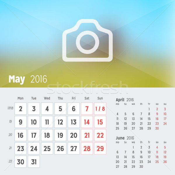 May 2016. Desk Calendar for 2016 Year. Vector Design Print Template with Place for Photo. Week Start Stock photo © mikhailmorosin