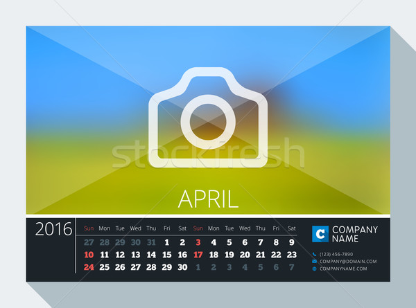 Stock photo: April 2016. Vector Stationery Design. Print Template. Desk Calendar for 2016 Year. Place for Photo,