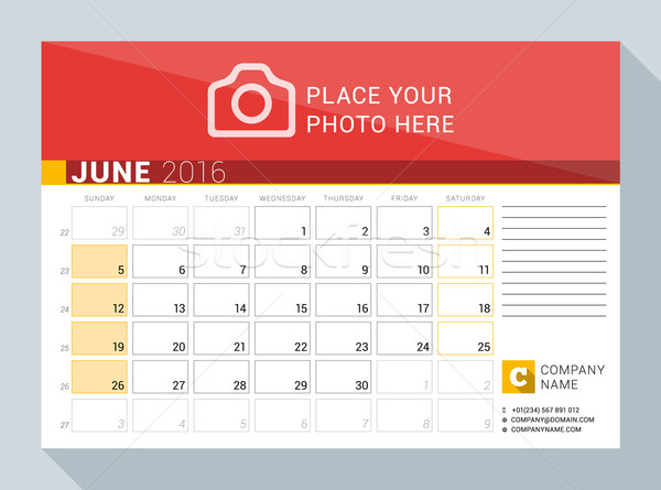 Calendar Planner for 2016 Year. June. Vector Print Template with Place for Photo, Logo and Contact I Stock photo © mikhailmorosin