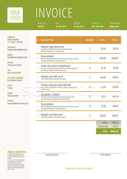 Vector Invoice Form Template Design. Vector Illustration. Green and Brown Color Theme Stock photo © mikhailmorosin
