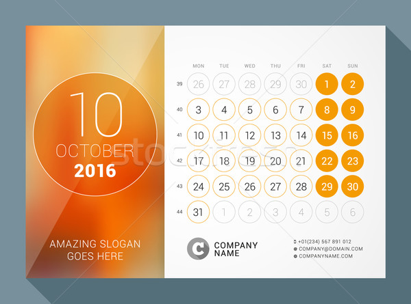 October 2016. Desk Calendar for 2016 Year. Vector Design Print Template with Place for Photo and Cir Stock photo © mikhailmorosin