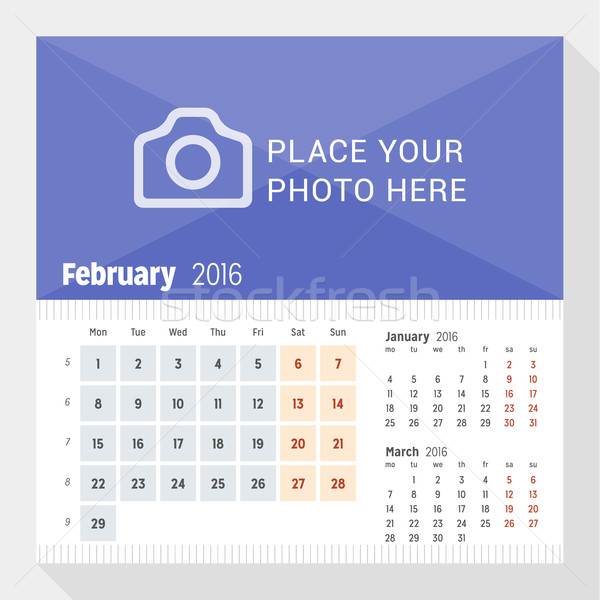Stock photo: February 2016. Desk Calendar for 2016 Year. Week Starts Monday. 3 Months on Page. Vector Design Prin
