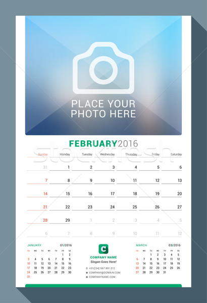 February 2016. Wall Monthly Calendar for 2016 Year. Vector Design Print Template with Place for Phot Stock photo © mikhailmorosin