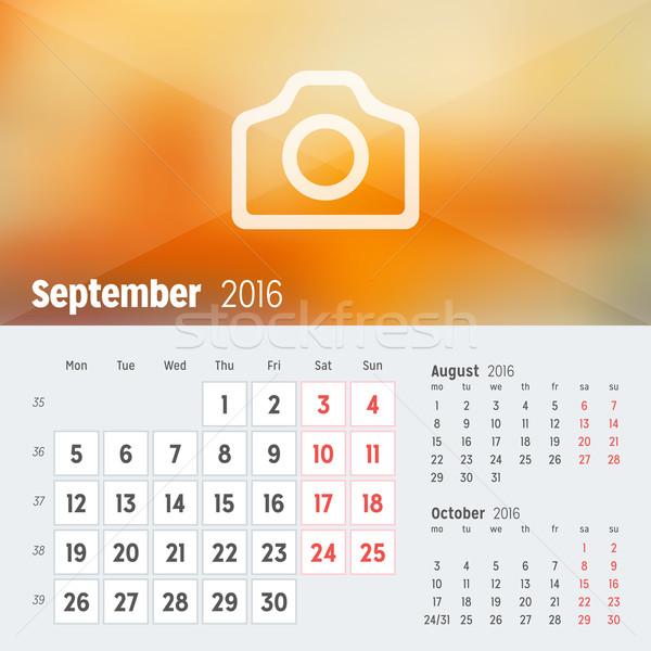 Stock fotó: 2016 · asztal · naptár · év · vektor · terv