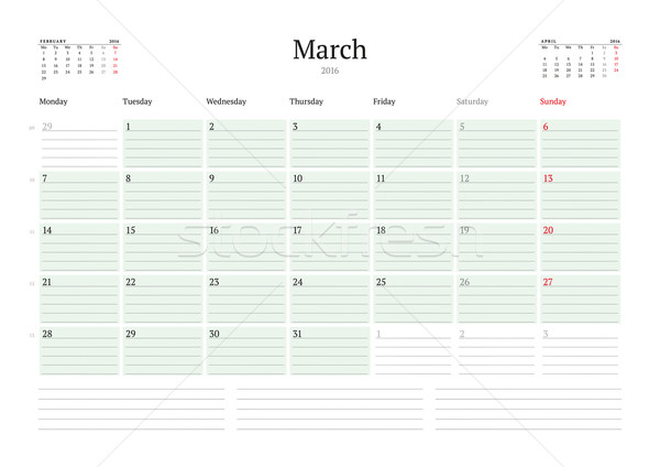 Monthly Calendar Planner 2016. Vector Print Template. March. Week Starts Monday Stock photo © mikhailmorosin
