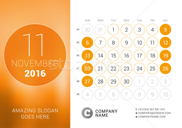 November 2016. Desk Calendar for 2016 Year. Vector Design Print Template with Place for Photo and Ci Stock photo © mikhailmorosin