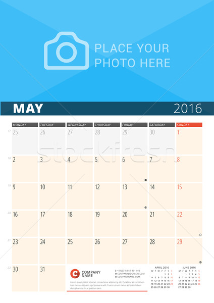 Mur calendrier planificateur 2016 année vecteur Photo stock © mikhailmorosin