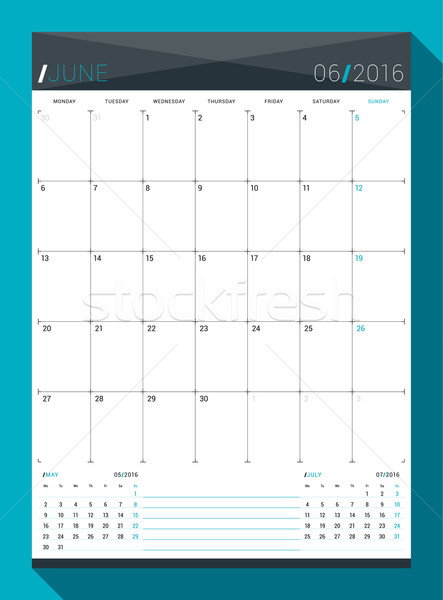 June 2016. Vector Design Print Template. Monthly Calendar Planner for 2016 Year. Week Starts Monday Stock photo © mikhailmorosin