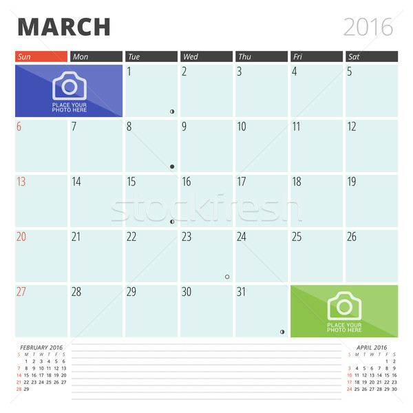 Calendar Planner 2016 Design Template with Place for Photos and Notes. March. Week Starts Sunday Stock photo © mikhailmorosin