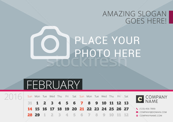 Desk Calendar 2016. Vector Print Template with Place for Photo. February. Week Starts Sunday Stock photo © mikhailmorosin