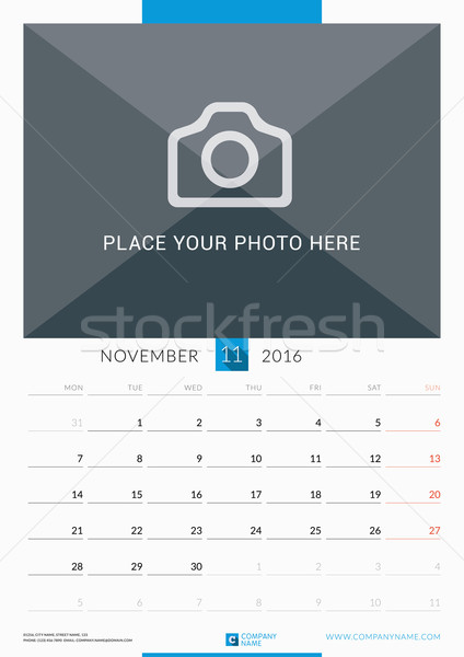 November 2016. Wall Monthly Calendar for 2016 Year. Vector Design Print Template with Place for Phot Stock photo © mikhailmorosin