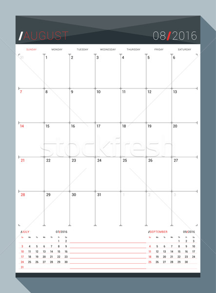 August 2016. Vector Design Print Template. Monthly Calendar Planner for 2016 Year. 3 Months on Page. Stock photo © mikhailmorosin