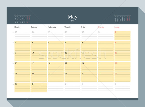 Stock photo: May 2016. Monthly Calendar Planner for 2016 Year. Vector Design Print Template. Week Starts Monday