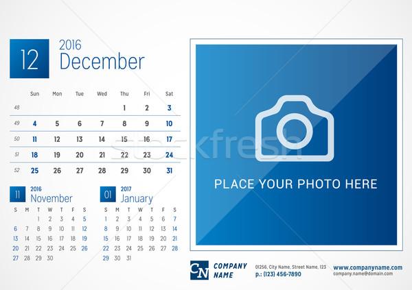 Secretária calendário 2016 vetor imprimir modelo Foto stock © mikhailmorosin