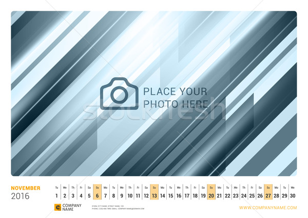 Wall Monthly Line Calendar for 2016 Year. Vector Design Print Template. Landscape Orientation. Novem Stock photo © mikhailmorosin