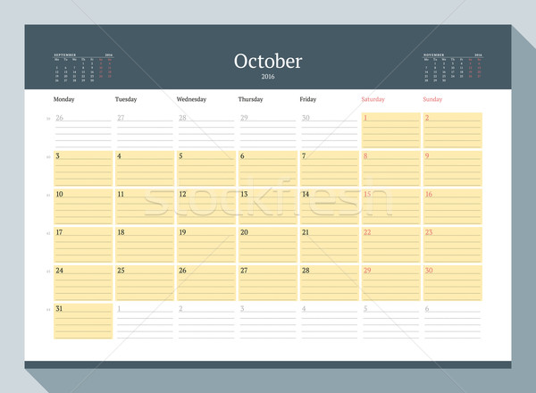 Stock photo: October 2016. Monthly Calendar Planner for 2016 Year. Vector Design Print Template. Week Starts Mond