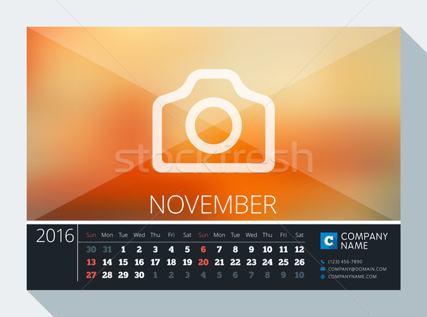 November 2016. Vector Stationery Design. Print Template. Desk Calendar for 2016 Year. Place for Phot Stock photo © mikhailmorosin
