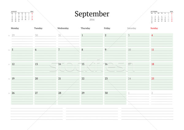 Monthly Calendar Planner 2016. Vector Print Template. September. Week Starts Monday Stock photo © mikhailmorosin